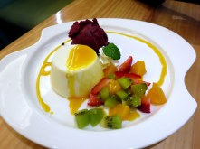 Fruit, sorbet and pudding